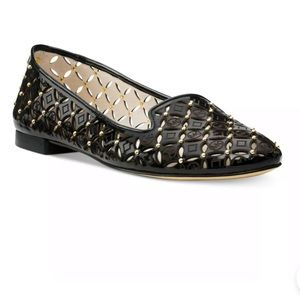 Michael Kora black and gold laser cut flats size 7